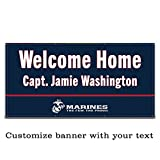 Buttonsmith USMC Marine Blue Custom Vinyl Banner 6'x3' - Indoor/Outdoor -Officially Licensed - Personalize with Name and Rank - Hemmed and Grommeted - Designed Printed and Assembled in USA