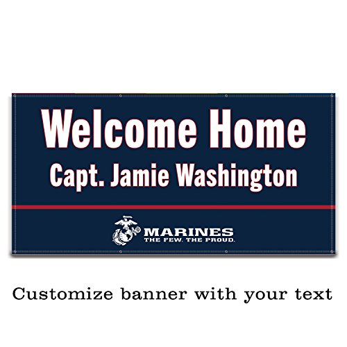 Buttonsmith USMC Marine Blue Custom Vinyl Banner 6'x3' - Indoor/Outdoor -Officially Licensed - Personalize with Name and Rank - Hemmed and Grommeted - Designed Printed and Assembled in USA by Buttonsmith