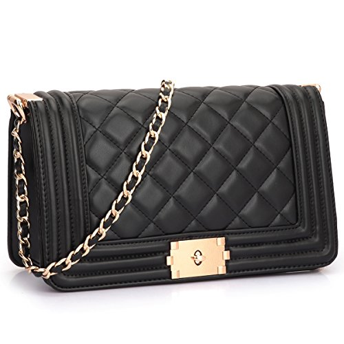 Dasein Women's Designer Quilted PU Leather Twist Lock Crossbody Bag Shoulder Bag Fashion Handbags w/Chain Strap (Black) from Dasein