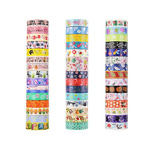 45 Rolls Washi Tape, Decorative Adhesive Washi Masking Tapes Sticker for Scrapbooking DIY Crafts and Gift Wrapping]()