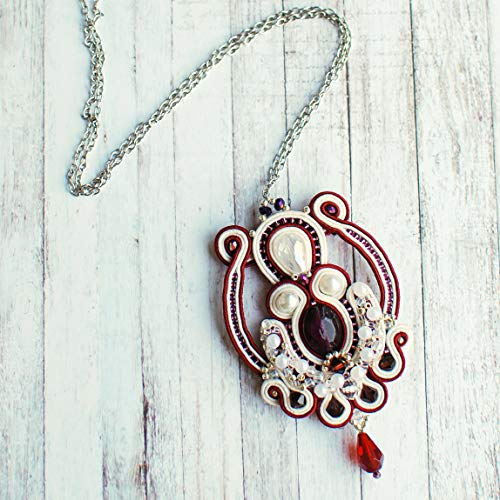 (Soutache handmade embroidered dark red, ruby red, gray, cream, white, silver pendant, Beaded tender small crystals necklace, Fabric oriental bohemian evening cocktail wedding statement jewelry)