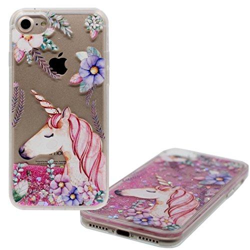 MZBaoLingMeiDongUS iPhone 6S Plus Funda Agua Liquido Case Brillo Rosa Arenas Movedizas Caballo Unicornio Diseño Clear...