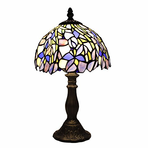 110 Voltage Stained Glass Iris Table Lamp Modern Bedside Desk Light - Iris Bronze Lamp Table