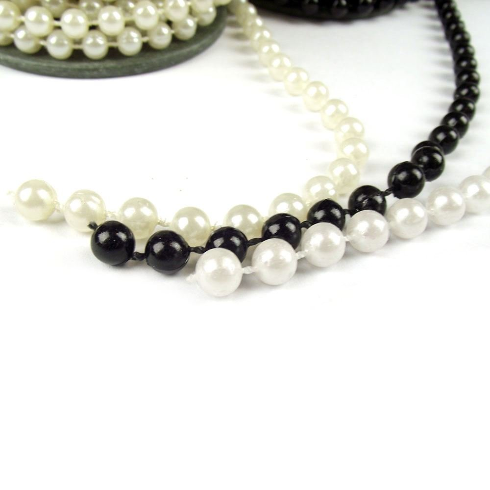 3 Yards of Artificial Pearl Garland. Wedding Reel String Beads Chain[Black,5mm (Small)] Meena Supplies
