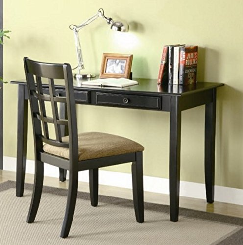Home Office Writing Desk Chair Set Wood - Its Classy and Effortlessly Stylish Look Blends Well with Any Traditional Home Decor - Satisfaction Guaranteed! (Black)