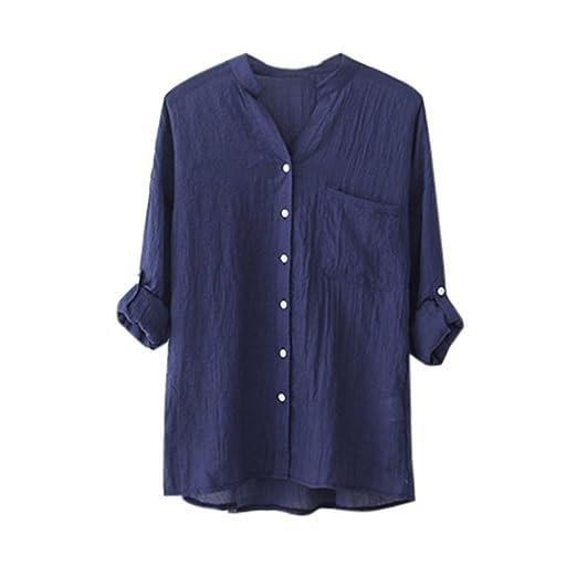 ef59b7e6e1e87 MALLCAS Women s Cotton Linen Solid Long Sleeve Shirt Casual Loose Blouse  Button Down V Neck Fall Summer Tops (S