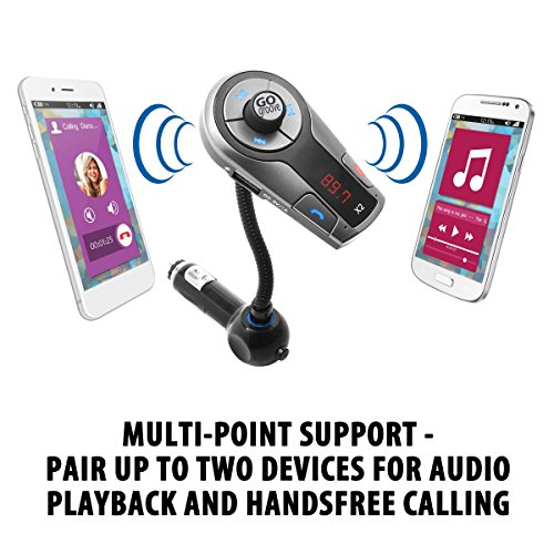 Compatible with iPhone Multipoint Pairing Music Controls GOgroove FlexSMART X2 Bluetooth FM Transmitter for Car Radio w//USB Charging Tablets and More Hands Free Microphone Android