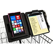 GalsShopper Black - All In 1 Shopping Organizer,1 Clip On Any Shopping Cart Handlebar,Holds Any Size Smart Phone/List/Coupons/Pen, HandsFree for Clothes,Shoes,Kids,Groceries/Compact In Handbag or Home