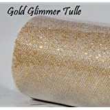 Wedding GLITTER Tulle Roll 6in x 30ft GOLD Sparkling Tulle (10 yards)
