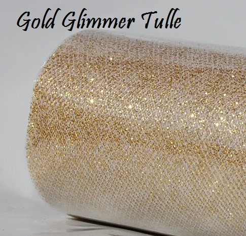 Wedding GLITTER Tulle Roll 6in x 30ft GOLD Sparkling Tulle (10 -