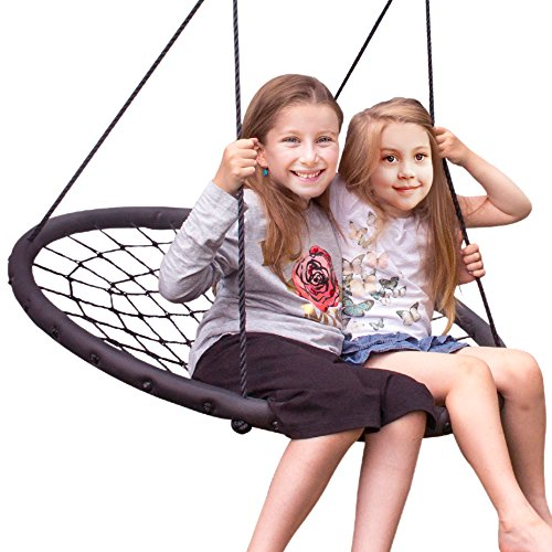 Sorbus Spinner Swing – Kids Indoor/Outdoor Round Web Swing – Great for Tree, Swing Set, Backyard, Playground, Playroom – Accessories Included (40'' Net Seat) by Sorbus (Image #2)