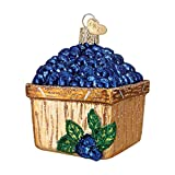Old World Christmas Basket Of Blueberries Glass Blown Ornament