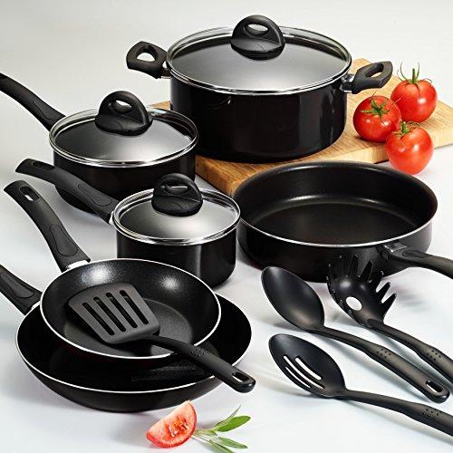 13-Piece Heat and Shatter Resistant Black Teflon Interior Nonstick Cookware Set