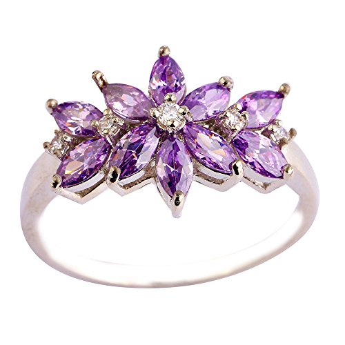 Empsoul 925 Sterling Silver Natural Novelty Simulated Marquise Cut Amethyst Flower Shaped Proposal Ring