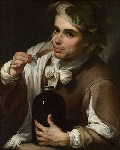 Oil Painting 'Style Of Bartolome Esteban Murillo A Young Man Drinking ' Printing On High Quality Polyster Canvas , 12 X 15 Inch / 30 X 38 Cm ,the Best (King Diamond Halloween Sub)