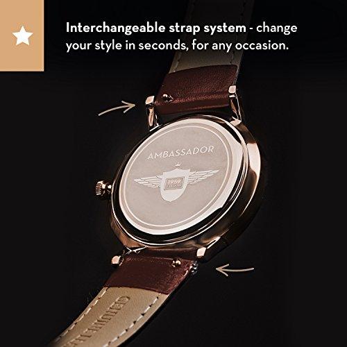 3ac513ec055 Ambassador Luxury Watch for Men - Designer Heritage 1959 Gold - Import It  All