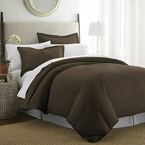 ienjoy Home Beckham Luxury Soft Brushed 1800 Series Microfiber Duvet Cover Set - Hypoallergenic King Chocolate