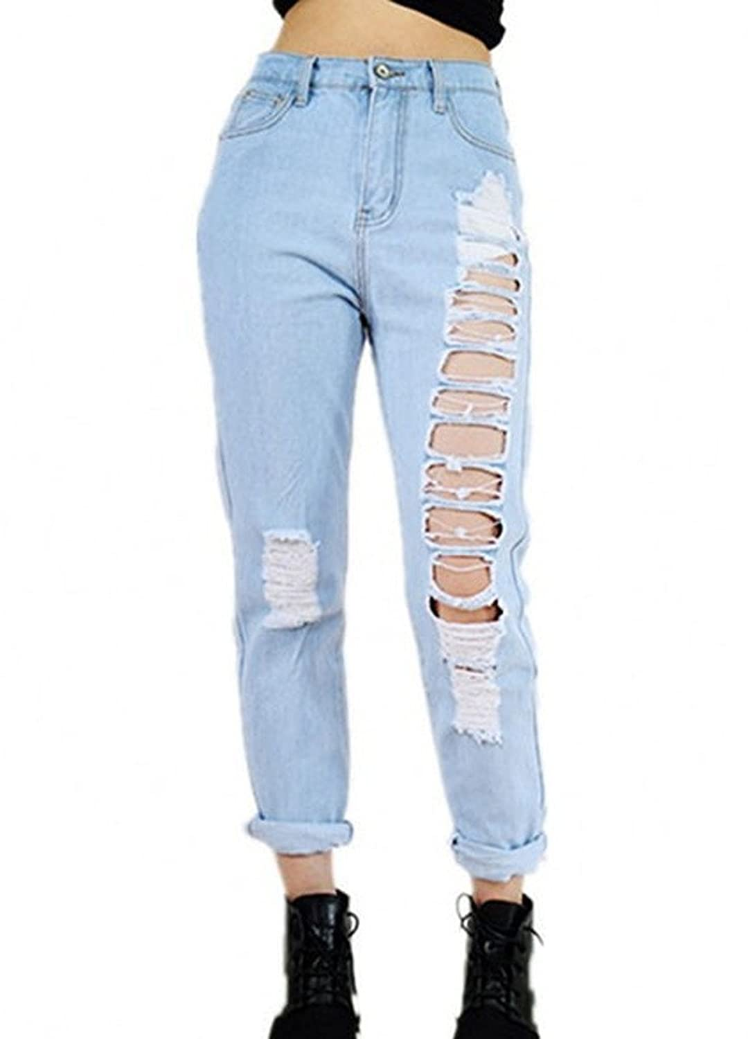 Sunfan Women's Sexy Destroyed Hole Jeans Ripped Washed Straight Denim Trousers