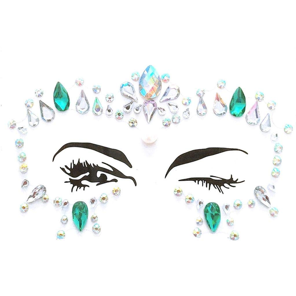 LiPing Face Gems Adhesive Glitter Jewel Tattoo Wedding Festival Rave Party Body Make Up Realistic Temporary Tattoos Cover/Body Art Sticker for Man Women/Body Paints Temporary Tattoo Designs (C)