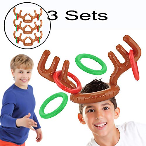Starhig Inflatable Reindeer Antler Ring Toss Game for Xmas Party(3 Sets (41 Christmas Games)