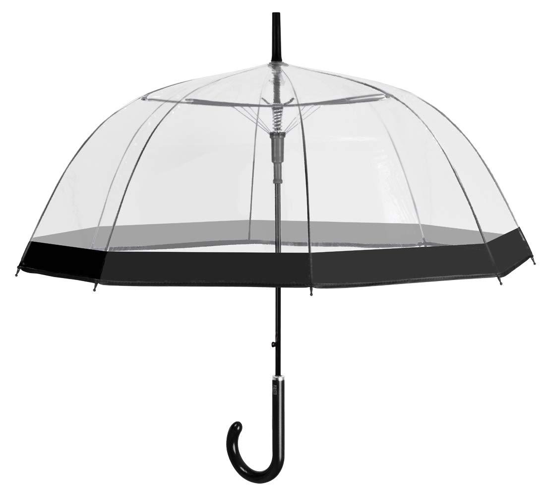 Perletti 26019 - Paraguas Transparente Mujer, Clásico de Burbuja Automatico, Borde negro, Resistente Antiviento, 89 cm de diámetro Perletti_26019