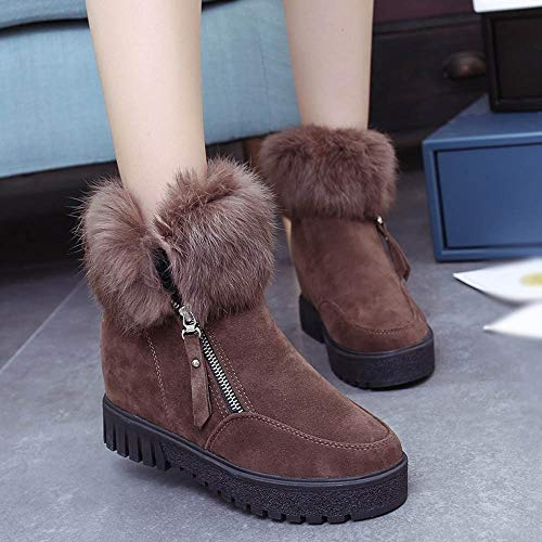 Khaki Womens Holywin Boots Zipper Heightening Plus Side Boots Velvet Snow Boots 4qqdvR
