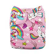 ALVABABY Cloth Diaper One Size Adjustable Reuseable Washable Nappy One Pack With 2 Inserts H071