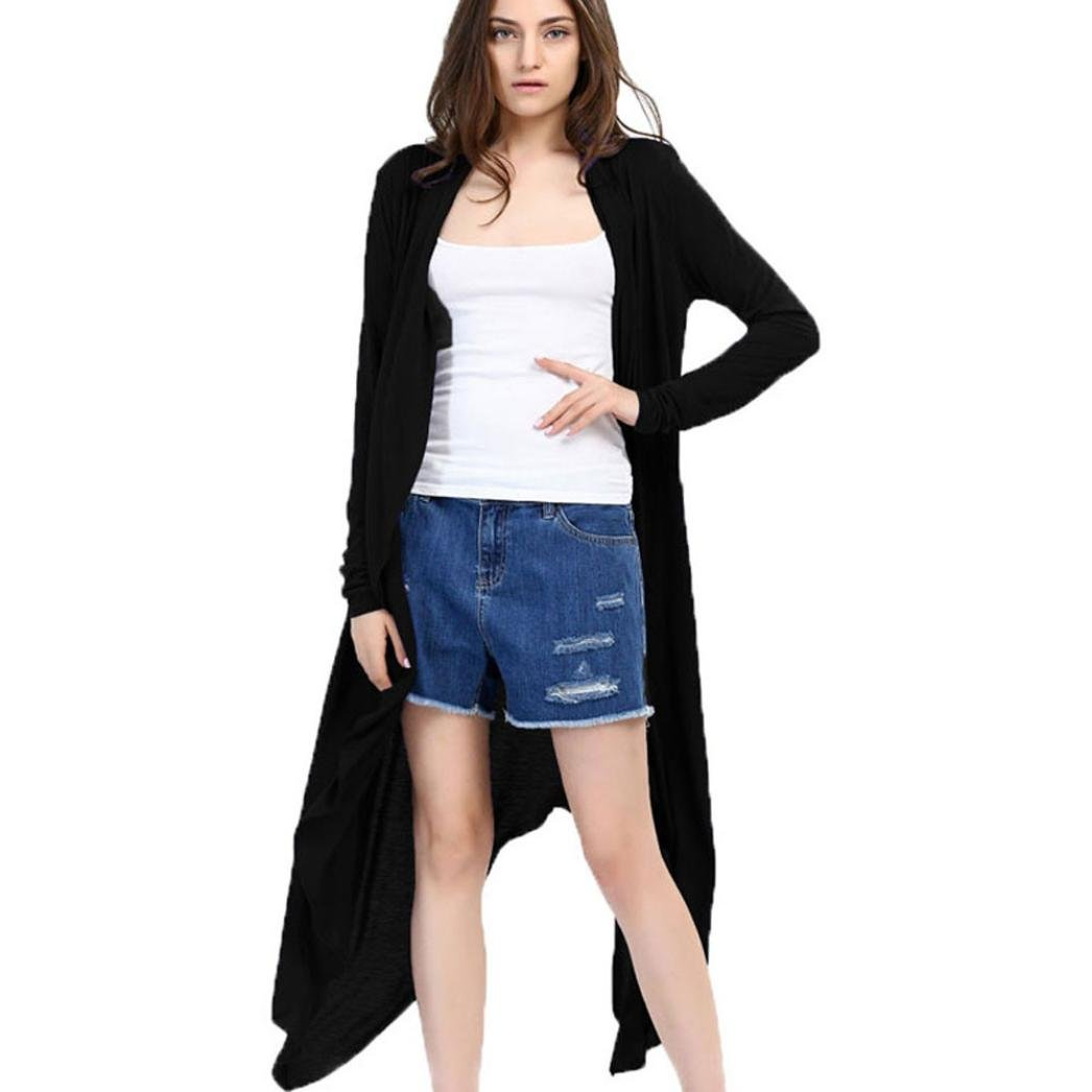Pervobs Women Cover Ups Big Promotion! Women Knitted Loose Swing Cover up Shawl Kimono Cardigan Long Top Cover up Blouse (S, Black)