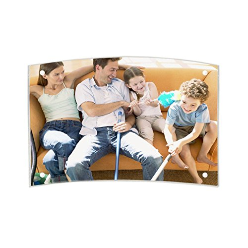 Price comparison product image WEIYIKANG Acrylic Curved Photo Frame Magnet Picture Frame Mounted Double Sided Photo Frame Free Standing Desktop (8X6 inch)