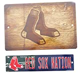 "Red Sox and Red Sox Nation football team Street Sign 17"" x 11"", and 15"" x 3.5, two pieces set."