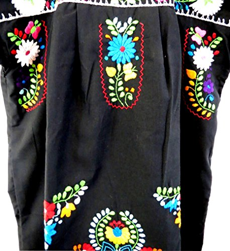 Leos Mexican Imports Mexican Dress Puebla (XXL, Black)
