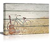 wall26 Canvas Wall Art - Bike and Guitar on Vintage Wood Textured Background - Rustic Country Style Modern Giclee Print Gallery Wrap Home Decor Ready to Hang - 12'' x 18''