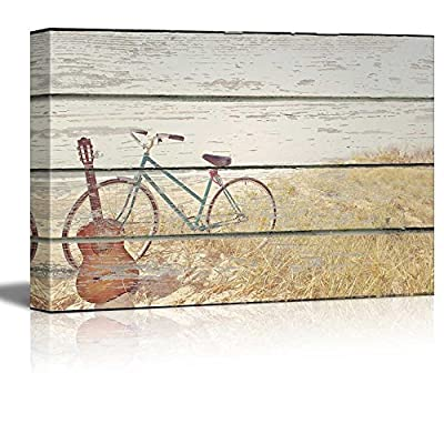 Canvas Wall Art - Bike and Guitar on Vintage Wood Textured Background - Rustic Country Style Modern Giclee Print Gallery Wrap Home Art Ready to Hang - 12