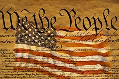 Constitution and Us Flag Wall Mural by Wallmonkeys Peel and Stick Graphic WM256498