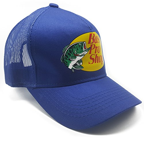 Authentic Bass Pro Mesh Fishing Hat - Royal Blue, Adjustable, One Size Fits - Top Hat Bass