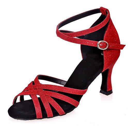 Brillo de Zapatillas Salsa Tango Baile Swing T Interior Latinas Acampanado Q Chispeante T Negro Rojo Sandalias Jazz Practice Tacón rojo Mujer Rendimiento StxYq