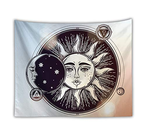 Qchengsan Psychedelic Tapestry,Moon and Sun with Many Fractal Faces Celestial Energy Mystic, Wall Hanging for Bedroom Living Room Dorm (W:59'H:51', 1)