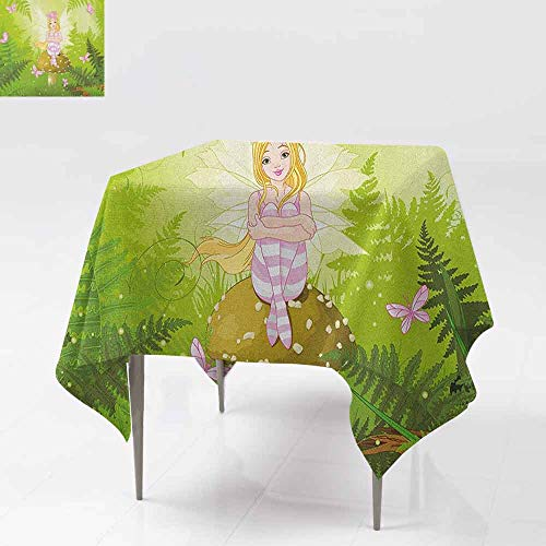 DUCKIL Wrinkle Resistant Tablecloth Magic Fairy Girl with Floral Hairstyle in Green Forest Pink Butterflies Table Decoration W63 xL63 Green Pale Pink -