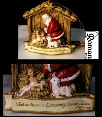 Joseph Studio The Kneeling Santa with Baby Jesus Christmas Ornament