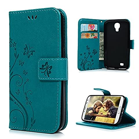 S4 Case, Galaxy S4 Case - Mavis's Diary Embossed Wallet Flip Folio Case Fashion Floral Butterfly Premium PU Leather Cover & Hand Strap, Magnetic Clasp, Card Holders for Samsung Galaxy S4 9500 - (Samsung Galaxy S4 Cases Kpop)