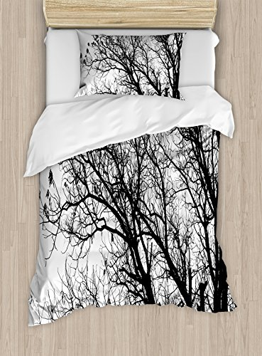 Ambesonne Nature Duvet Cover Set, Leafless Autumn Fall Tree Branches Tops Oak Forest Woodland Season Eco Theme, Decorative 2 Piece Bedding Set with 1 Pillow Sham, Twin Size, Black White