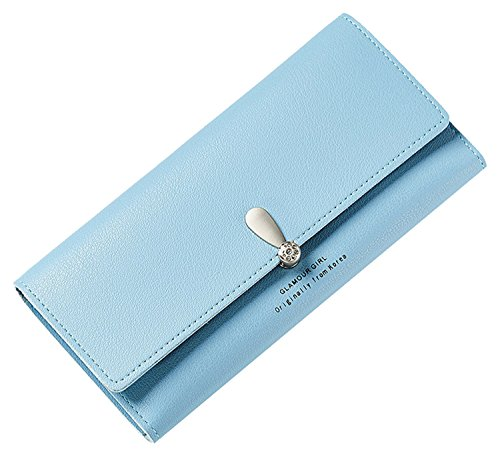Purse Womens Case Holder Clutch Wallet Pu Blue Grey New Leather SAIERLONG fUP1q