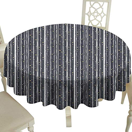 (Cranekey The Pattern Round Table Cloth 54 Inch Stripes,Hand Drawn Barcode Pattern with Ornamental Circles Geometric Illustration Dark Blue Gold White Great for,Outdoors & More)