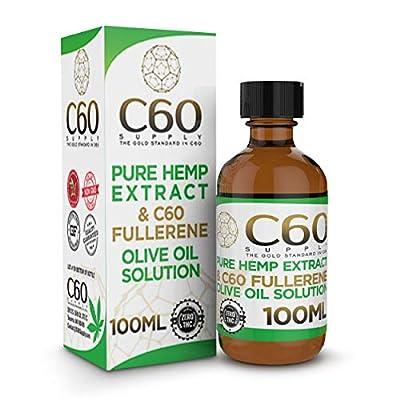 C60 Olive Oil w/Pure Hemp Extract - C 60 Olive Oil w/Hemp Oil Extract - C60 in Olive Oil - C60 Supplement & Natural Hemp Oil - FULLERENE C60 - Carbon 60 Olive Oil, Carbon C60 Hemp Oil Drops, C60 Oil