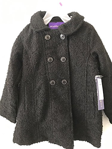 Madden Girl Toddler Girls Black Boucle' Double Breasted Button Coat (18 Months)