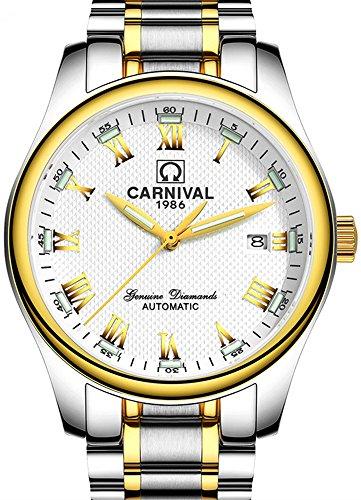 Men's Rome Numeral Calendar Automatic Mechanical Watch Tritium Gas Super Bright Luminous Blue Light (Gold White) Blue Luminous