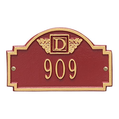 (Whitehall Products Monogram Petite Wall Square Red/Gold 1-Line Address Plaque)