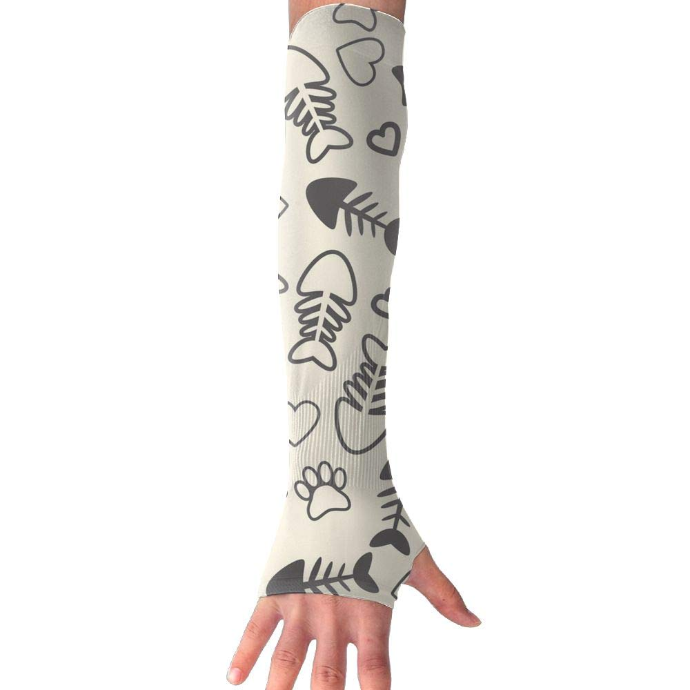RUNNING BEAN Love Dog Paw Prints Anti-UV Sleeves Gloves Sun Protection Sports Protective Armor Sleeves