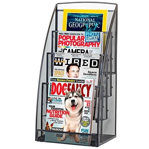 Halter Steel Mesh Magazine Rack / Literature Rack - 4 Pocket - - Rack Newspaper Display