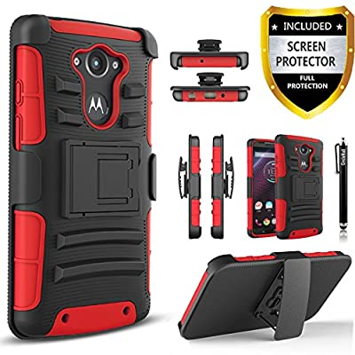 Droid Turbo Case, Motorola Droid Turbo Case, Combo Rugged Shell Cover Holster with Built-in Kickstand and Holster Locking Belt Clip Red + Circle(TM) Stylus Touch Screen Pen by CIRCLE